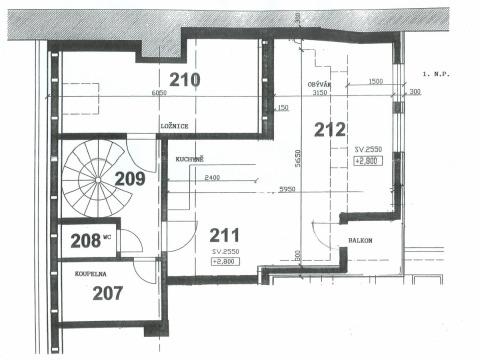 Apartmánek - půdorys patro